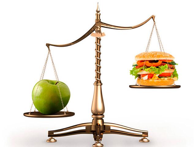 Яблоко и гамбургер